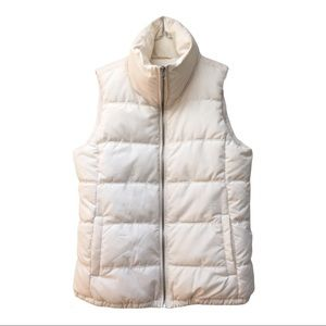 GAP Women's sz M EUC Cream Puffer Vest w Pockets